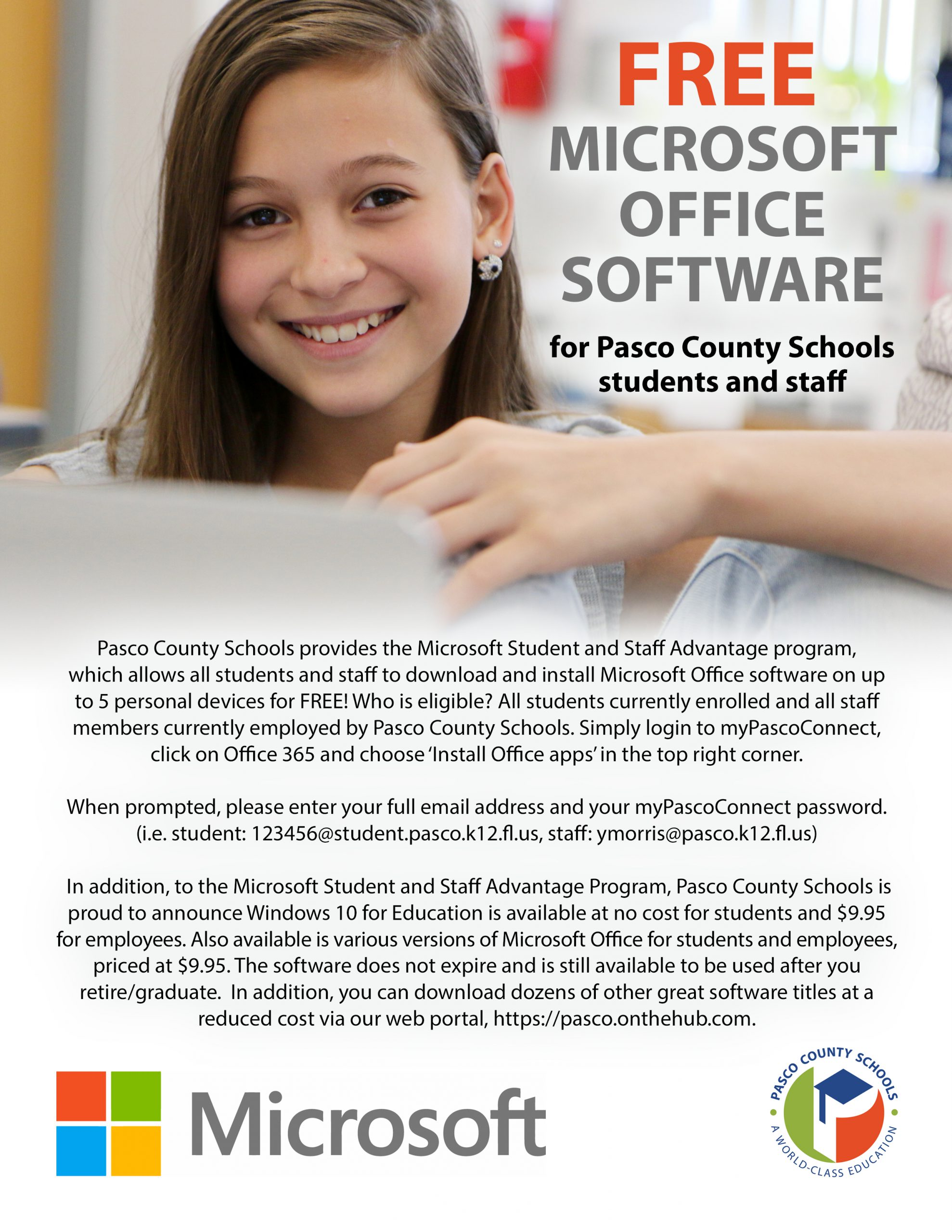 Instructions for getting Office365 for free for Pasco Students